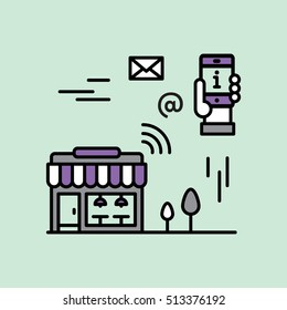 Proximity Marketing, Public Hotspot Zone Wireless Internet Wi-Fi Free. Sending messages, information and offers to users. Mobile phone notifications. Simple modern vector icon style illustration