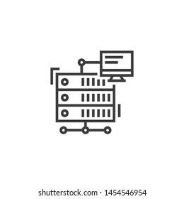 Proxy Server Vector Illustration, outline sign