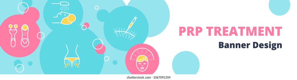 PRP Treatment vector pastel banner template with laser treatment, mesotherapy tools, ozone therapy, LED therapy and PRP procedure icons in blue and pink circles.
