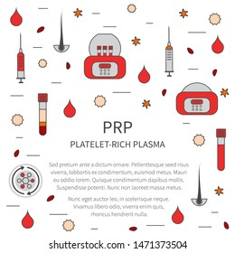 PRP treatment vector template in line style. Test tubes and syringes filled with blood before and after separation of platelets in the centrifuge. Platelet-rich plasma regenerative medicine concept.