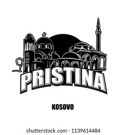 Prstina, Kosovo, black and white logo for high quality prints. Hand drawn vector sketch.