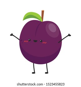 Prunes character. Prunes on white background. wallpaper. copy space.
