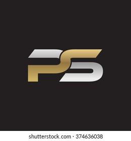 PS company linked letter logo golden silver black background