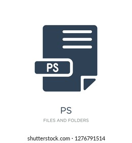 ps icon vector on white background, ps trendy filled icons from Files and folders collection, ps vector illustration