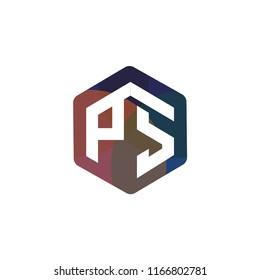 PS Initial letter hexagonal logo vector