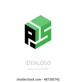 PS initial logo or monogram logotype. P5 Vector design element or icon.