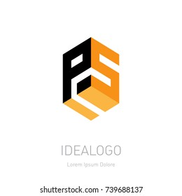 PS initial logo or monogram logotype. P5 Vector design element or icon with letters P and S. 3d object.