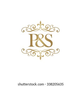 P&S Initial logo. Ornament ampersand monogram golden logo