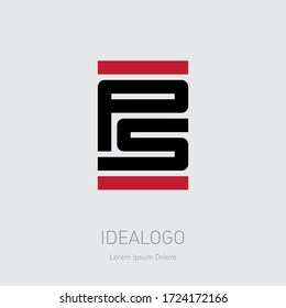 PS - initials or logo.  P and S - monogram or logotype for a tech startup. P5 - vector design element or icon. T-shirt print.