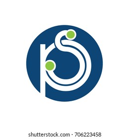 PS letter circle shape icon logo white blue and green,