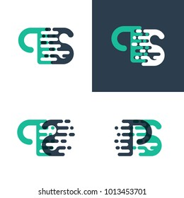PS letters logo with accent speed in green and dark blue