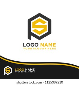 PS logo letter initial, Abstract polygonal Background Logo,