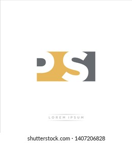 PS Logo Letter with Modern Negative space - Brown and Grey Color EPS 10