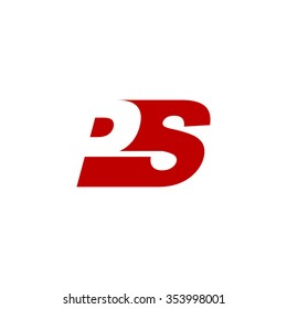 PS negative space letter logo red