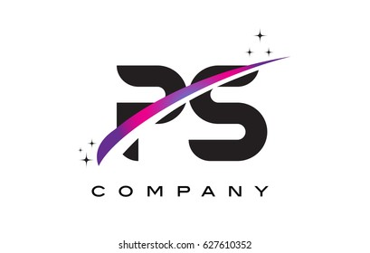 PS P S Black Letter Logo Design with Purple Magenta Swoosh and Stars.