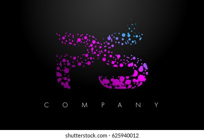 PS P S Letter Logo with Purple Blue Particles and Bubble Dots Design Vector.