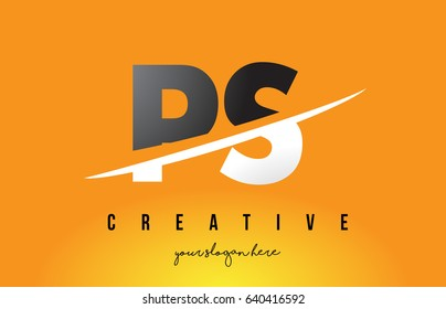 PS P S Letter Modern Logo Design with Swoosh Cutting the Middle Letters and Yellow Background.