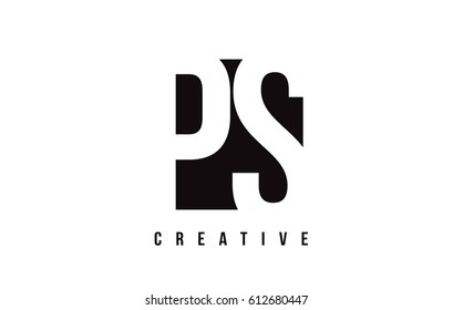 PS P S White Letter Logo Design with Black Square Vector Illustration Template.