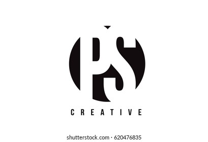 PS P S White Letter Logo Design with Circle Background Vector Illustration Template.