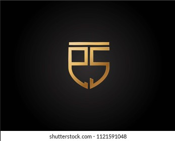 PS shield shape Letter Design in gold color