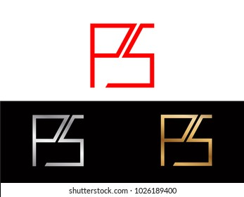 PS square shape red silver gold vector design