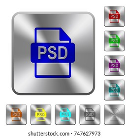 PSD file format engraved icons on rounded square glossy steel buttons