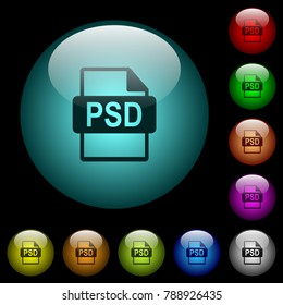 PSD file format icons in color illuminated spherical glass buttons on black background. Can be used to black or dark templates
