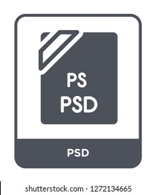 psd icon vector on white background, psd trendy filled icons from File type collection, psd simple element illustration