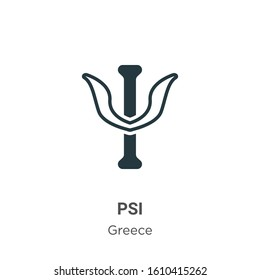 Psi glyph icon vector on white background. Flat vector psi icon symbol sign from modern greece collection for mobile concept and web apps design.