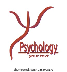 Psi Greek letter symbol. Inscription Psychology and space for your text.  Vector illustration