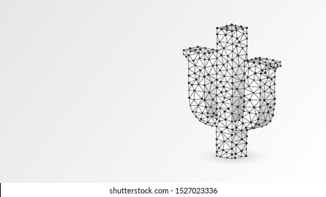 Psi, the letter of a Greek alphabet. Abstract, digital, wireframe, low poly mesh, vector white origami 3d illustration. Greek numerals, mathematical seven hundred number concept. Triangle, line, dot