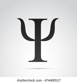 Psi symbol isolated on white background.