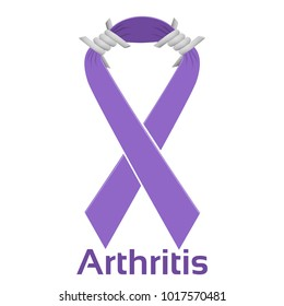 Psoriatic arthritis purple ribbon of hope and awareness with barbed wire