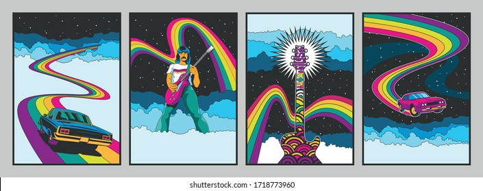 Psychedelic 1960s Rock Music Posters Stylization, Muscle Cars, Guitar, Guitar Player, Rainbows, Clouds, Starry Sky
