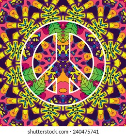 Psychedelic 60s hippie jungle cats peace symbol seamless pattern vector illustration