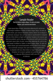 Psychedelic 60s hippie ornament flyer and poster vector template illustration