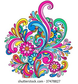 Psychedelic Abstract Paisley Doodle with Flowers and Swirls- Vector Illustration