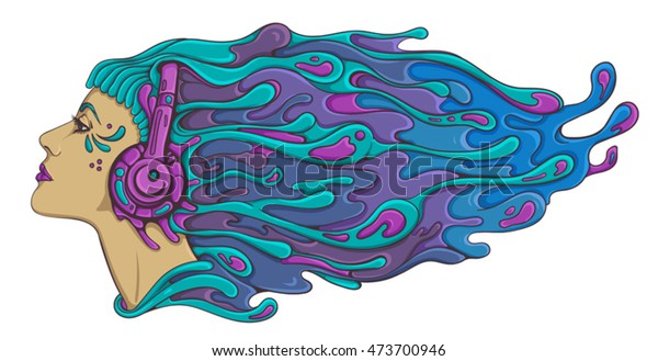 Psychedelic Acid Trance Dj Girl Headphones Stock Vector (Royalty