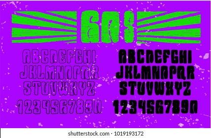 Psychedelic alphabet font. 60's hippy style.