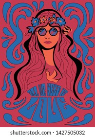 Psychedelic Art from the 1960s, 1970s Hippie Girl and dove of Peace Poster