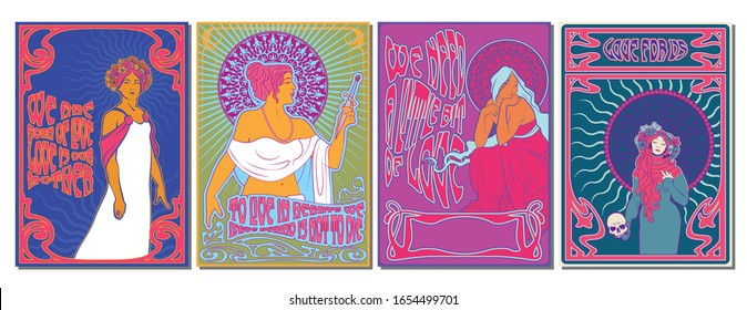Psychedelic Art 1960s, 1970s Poster Stylization, Young Women, Art Nouveau Frames, Psychedelic Colors