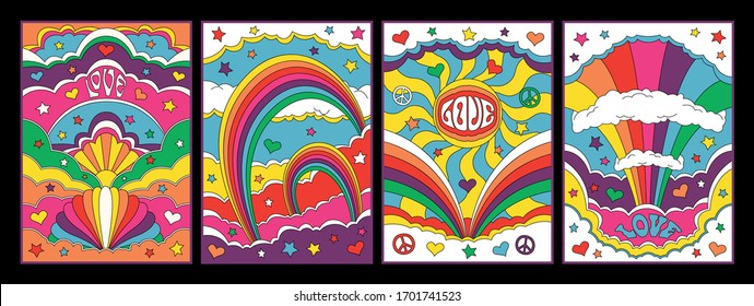 Psychedelic Art 1960s Hippie Posters Style, Sky, Rainbows, Clouds, Colorful Illustrations