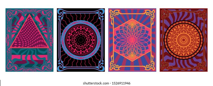 Psychedelic Art Backgrounds, Patterns, Cover Templates, Vintage Colors and Ethnic Ornaments
