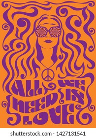 Psychedelic Art  Hippie Girl from the 1960s, 1970s Peace Propaganda Poster