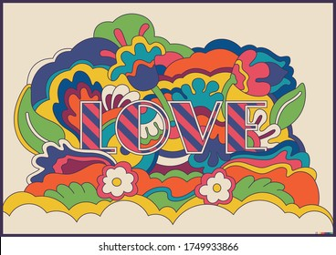 Psychedelic Art Love Poster, 1960s Hippie Style
