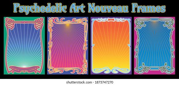 Psychedelic Art Nouveau Frames, Retro Style Backgrounds