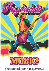 Psychedelic Art Poster 1960s, 1970s Style, Guitar Player and Colorful Background Vintage Colors