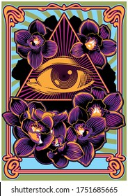 Psychedelic Art Poster 1960s Music Rock Album Cover Stylization, Eye in Triangle, Orchids, Art Nouveau Frame, Psychedelic Colors