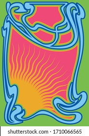 Psychedelic Art Poster, Cover Template 1960s, 1970s Style, Art Nouveau Frame
