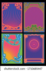 Psychedelic Art Poster, Cover Templates Music Album Covers from the 1960s, 1970s Stylization, Art Nouveau Frames, Psychedelic Colors